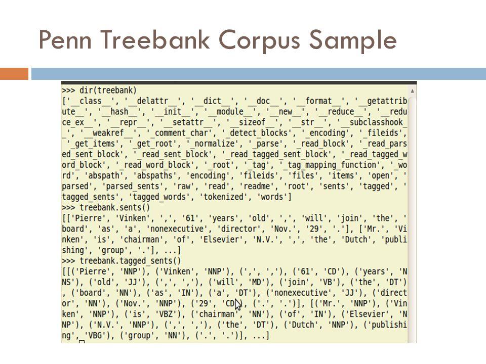 Penn Treebank Corpus Sample