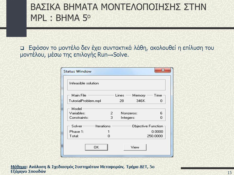 Μάθημα: Ανάλυση & Σχεδιασμός Συστημάτων Μεταφορών, Τμήμα ΔΕΤ, 5ο Εξάμηνο Σπουδών ΒΑΣΙΚΑ ΒΗΜΑΤΑ ΜΟΝΤΕΛΟΠΟΙΗΣΗΣ ΣΤΗΝ MPL : ΒΗΜΑ 5 ο  Εφόσον το μοντέλο δεν έχει συντακτικά λάθη, ακολουθεί η επίλυση του μοντέλου, μέσω της επιλογής Run → Solve.