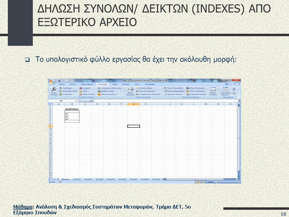 Μάθημα: Ανάλυση & Σχεδιασμός Συστημάτων Μεταφορών, Τμήμα ΔΕΤ, 5ο Εξάμηνο Σπουδών ΔΗΛΩΣΗ ΣΥΝΟΛΩΝ/ ΔΕΙΚΤΩΝ (INDEXES) ΑΠΟ ΕΞΩΤΕΡΙΚΟ ΑΡΧΕΙΟ  Το υπολογιστικό φύλλο εργασίας θα έχει την ακόλουθη μορφή: 68