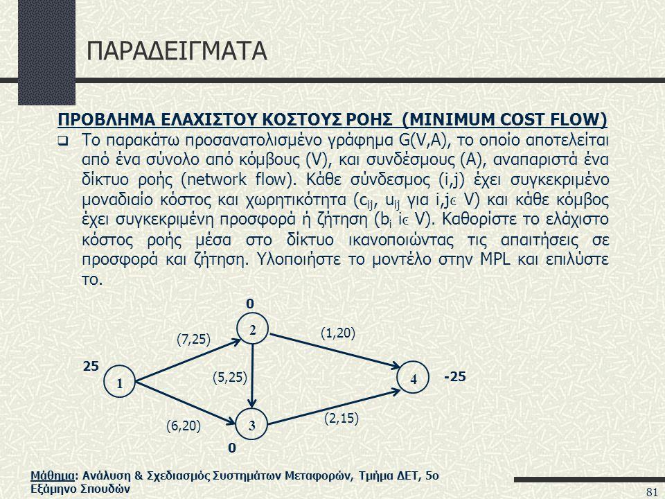 Μάθημα: Ανάλυση & Σχεδιασμός Συστημάτων Μεταφορών, Τμήμα ΔΕΤ, 5ο Εξάμηνο Σπουδών ΠΑΡΑΔΕΙΓΜΑΤΑ ΠΡΟΒΛΗΜΑ ΕΛΑΧΙΣΤΟΥ ΚΟΣΤΟΥΣ ΡΟΗΣ (MINIMUM COST FLOW)  Το παρακάτω προσανατολισμένο γράφημα G(V,A), το οποίο αποτελείται από ένα σύνολο από κόμβους (V), και συνδέσμους (A), αναπαριστά ένα δίκτυο ροής (network flow).