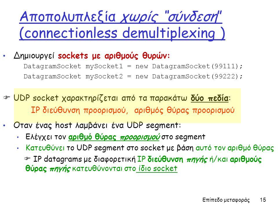 Επίπεδο μεταφοράς 15 Aποπολυπλεξία χωρίς σύνδεση (connectionless demultiplexing ) • Δημιουργεί sockets με αριθμούς θυρών: DatagramSocket mySocket1 = new DatagramSocket(99111); DatagramSocket mySocket2 = new DatagramSocket(99222);  UDP socket χαρα κ τηρίζεται από τα παρακάτω δύο πεδία: IP διεύθυνση προορισμού, αριθμός θύρας προορισμού • Οταν ένας host λαμβάνει ένα UDP segment: • Ελέγχει τον αριθμό θύρας προορισμού στο segment • Κατευθύνει το UDP segment στο socket με βάση αυτό τον αριθμό θύρας  IP datagrams με διαφορετική IP διεύθυνση πηγής ή/και αριθμούς θύρας πηγής κατευθύνονται στο ίδιο socket