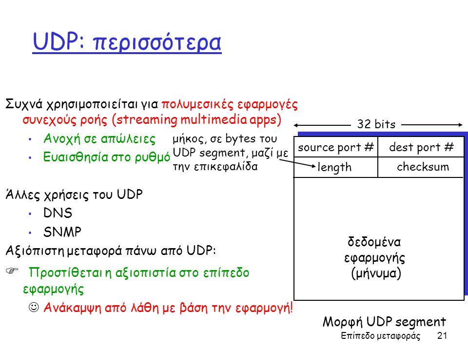 Επίπεδο μεταφοράς 21 UDP: περισσότερα Συχνά χρησιμοποιείται για πολυμεσικές εφαρμογές συνεχούς ροής (streaming multimedia apps) • Ανοχή σε απώλειες • Ευαισθησία στο ρυθμό Άλλες χρήσεις του UDP • DNS • SNMP Αξιόπιστη μεταφορά πάνω από UDP:  Προστίθεται η αξιοπιστία στο επίπεδο εφαρμογής  Ανάκαμψη από λάθη με βάση την εφαρμογή.
