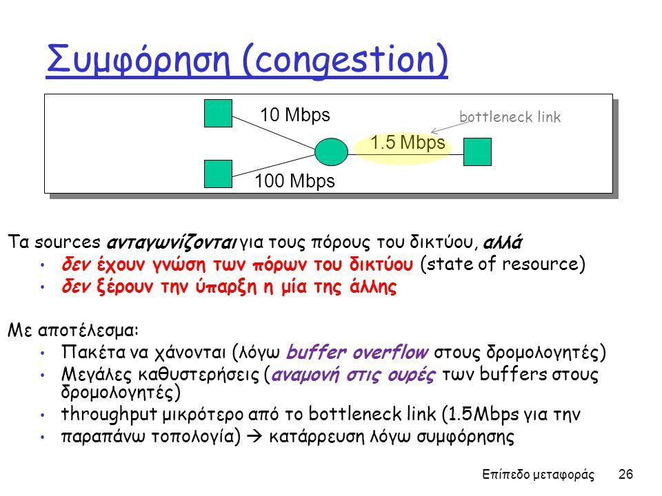 Επίπεδο μεταφοράς 26 Συμφόρηση (congestion) Τα sources ανταγωνίζονται για τους πόρους του δικτύου, αλλά • δεν έχουν γνώση των πόρων του δικτύου (state of resource) • δεν ξέρουν την ύπαρξη η μία της άλλης Με αποτέλεσμα: • Πακέτα να χάνονται (λόγω buffer overflow στους δρομολογητές) • Μεγάλες καθυστερήσεις (αναμονή στις ουρές των buffers στους δρομολογητές) • throughput μικρότερο από το bottleneck link (1.5Mbps για την • παραπάνω τοπολογία)  κατάρρευση λόγω συμφόρησης 10 Mbps 100 Mbps 1.5 Mbps bottleneck link