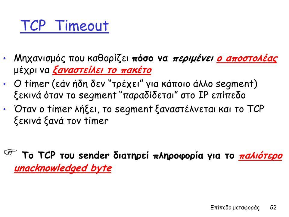 Επίπεδο μεταφοράς 52 TCP Timeout • Μηχανισμός που καθορίζει πόσο να περιμένει ο αποστολέας μέχρι να ξαναστείλει το πακέτο • Ο timer (εάν ήδη δεν τρέχει για κάποιο άλλο segment) ξεκινά όταν το segment παραδίδεται στο IP επίπεδο • Όταν ο timer λήξει, το segment ξαναστέλνεται και το TCP ξεκινά ξανά τον timer  Το TCP του sender διατηρεί πληροφορία για το παλιότερο unacknowledged byte