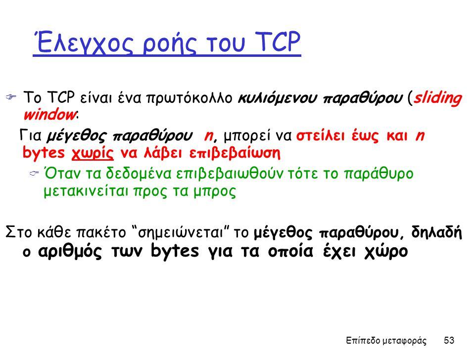 Επίπεδο μεταφοράς 53 Έλεγχος ροής του TCP  Το TCP είναι ένα πρωτόκολλο κυλιόμενου παραθύρου (sliding window: Για μέγεθος παραθύρου n, μπορεί να στείλει έως και n bytes χωρίς να λάβει επιβεβαίωση  Όταν τα δεδομένα επιβεβαιωθούν τότε το παράθυρο μετακινείται προς τα μπρος Στο κάθε πακέτο σημειώνεται το μέγεθος παραθύρου, δηλαδή ο αριθμός των bytes για τα οποία έχει χώρο