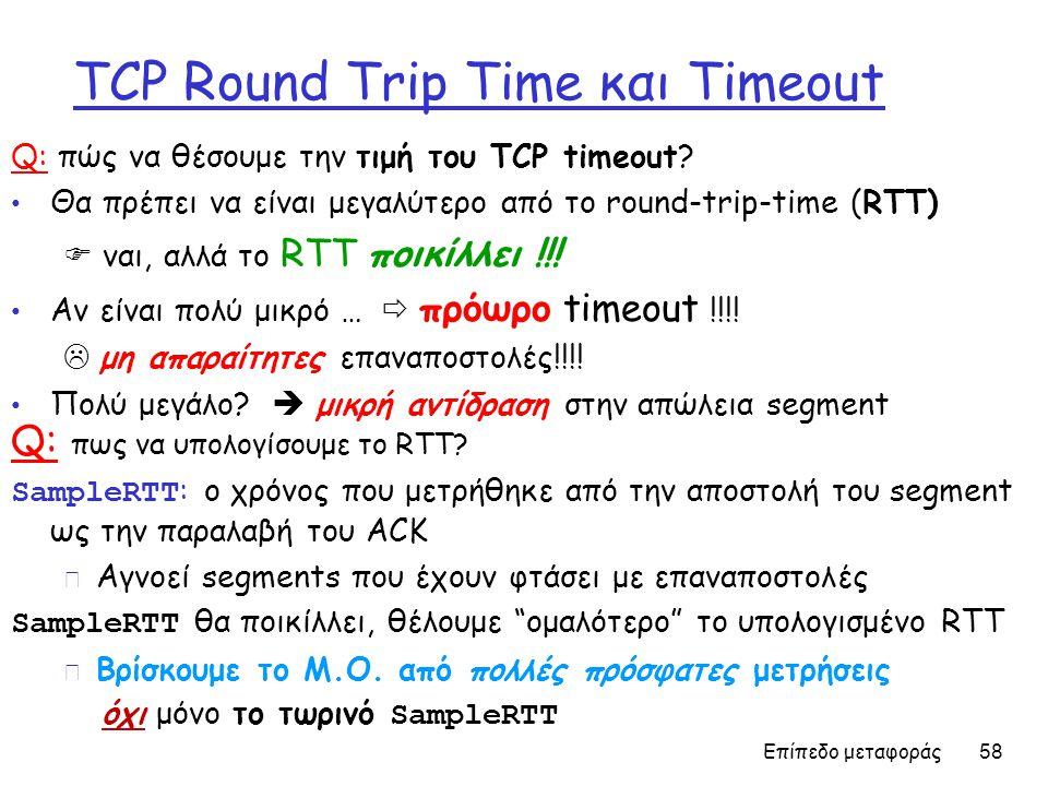 Επίπεδο μεταφοράς 58 TCP Round Trip Time και Timeout Q: πώς να θέσουμε την τιμή του TCP timeout.