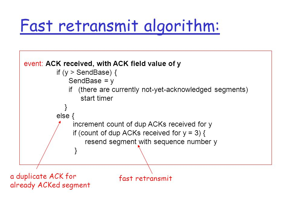 event: ACK received, with ACK field value of y if (y > SendBase) { SendBase = y if (there are currently not-yet-acknowledged segments) start timer } else { increment count of dup ACKs received for y if (count of dup ACKs received for y = 3) { resend segment with sequence number y } Fast retransmit algorithm: a duplicate ACK for already ACKed segment fast retransmit