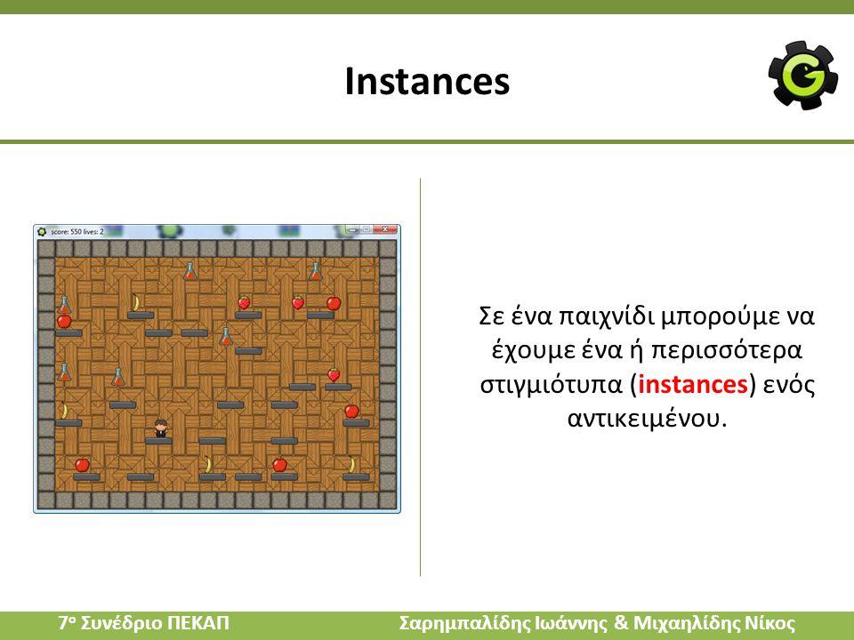 Instances Σε ένα παιχνίδι μπορούμε να έχουμε ένα ή περισσότερα στιγμιότυπα (instances) ενός αντικειμένου. 7 ο Συνέδριο ΠΕΚΑΠ Σαρημπαλίδης Ιωάννης & Μι