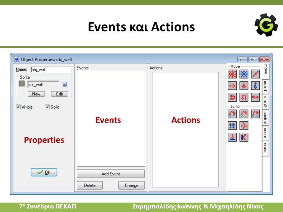 Events και Actions Properties EventsActions 7 ο Συνέδριο ΠΕΚΑΠ Σαρημπαλίδης Ιωάννης & Μιχαηλίδης Νίκος