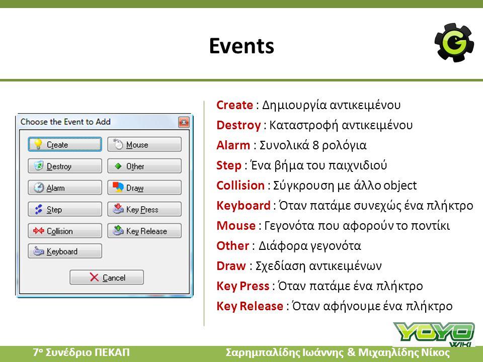 Events Create : Δημιουργία αντικειμένου Destroy : Καταστροφή αντικειμένου Alarm : Συνολικά 8 ρολόγια Step : Ένα βήμα του παιχνιδιού Collision : Σύγκρο