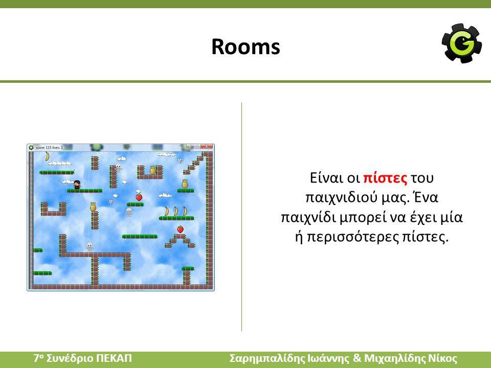 Είναι οι πίστες του παιχνιδιού μας. Ένα παιχνίδι μπορεί να έχει μία ή περισσότερες πίστες. Rooms 7 ο Συνέδριο ΠΕΚΑΠ Σαρημπαλίδης Ιωάννης & Μιχαηλίδης