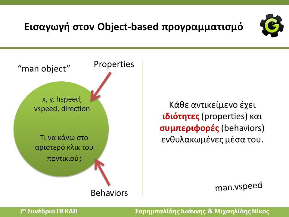 """Εισαγωγή στον Object-based προγραμματισμό """"man object"""" x, y, hspeed, vspeed, direction Τι να κάνω στο αριστερό κλικ του ποντικιού ; Properties Behavio"""
