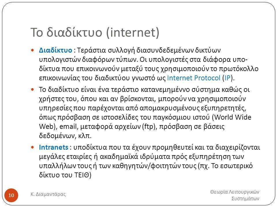 Το διαδίκτυο (internet) Θεωρία Λειτουργικών Συστημάτων Κ.