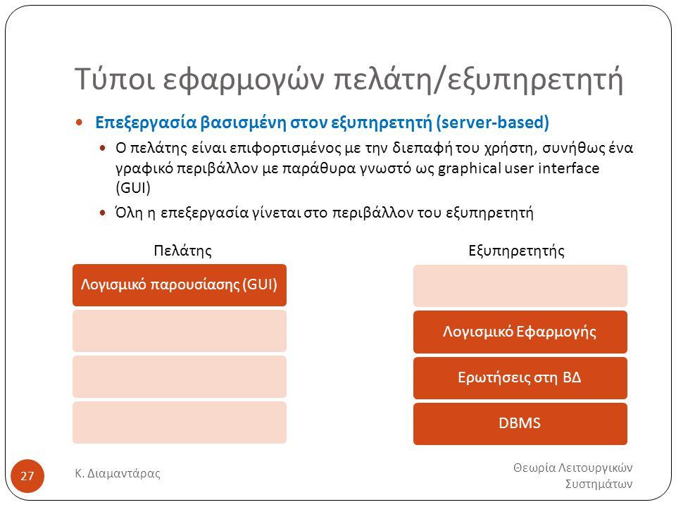 Τύποι εφαρμογών πελάτη/εξυπηρετητή Θεωρία Λειτουργικών Συστημάτων Κ.