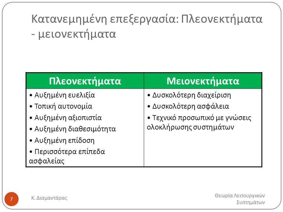 Κατανεμημένη επεξεργασία: Πλεονεκτήματα - μειονεκτήματα Θεωρία Λειτουργικών Συστημάτων Κ.