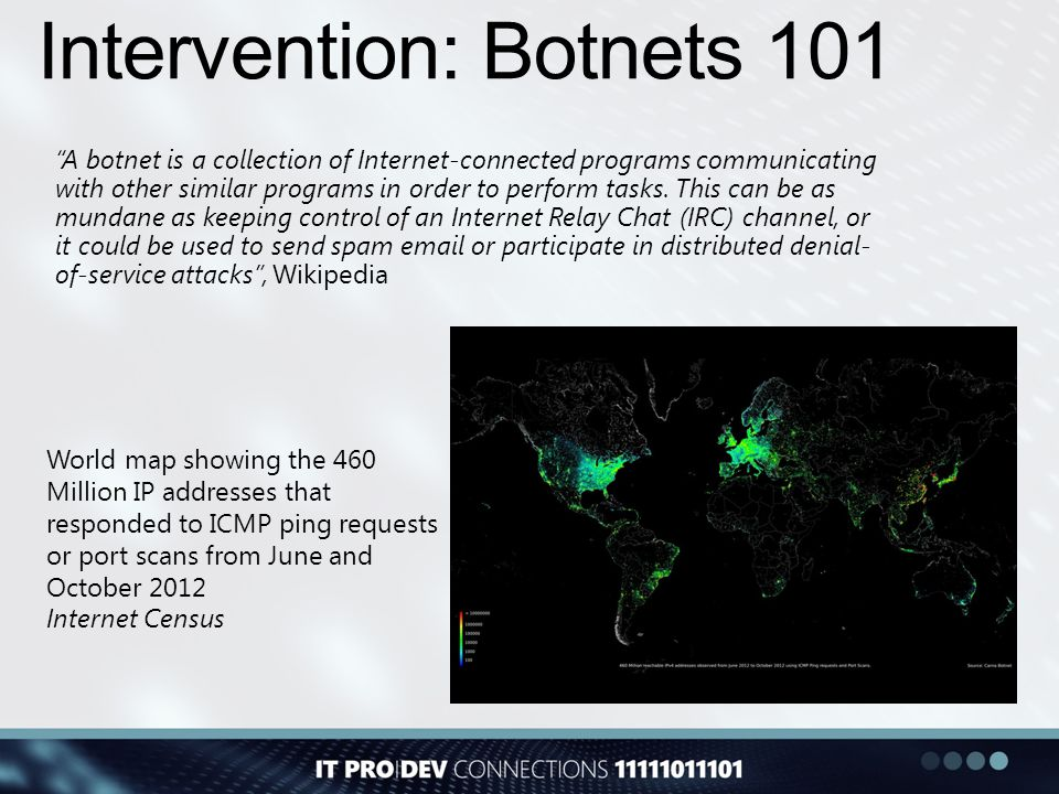 "Intervention: Botnets 101 ""A botnet is a collection of Internet-connected programs communicating with other similar programs in order to perform tasks"