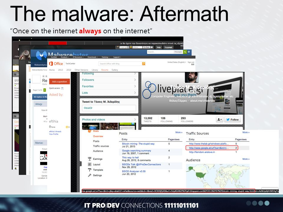 "The malware: Aftermath ""Once on the internet always on the internet"""