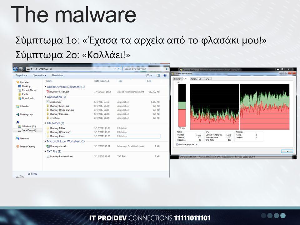 The malware Sysinternals Autoruns Sysinternals Process Explorer