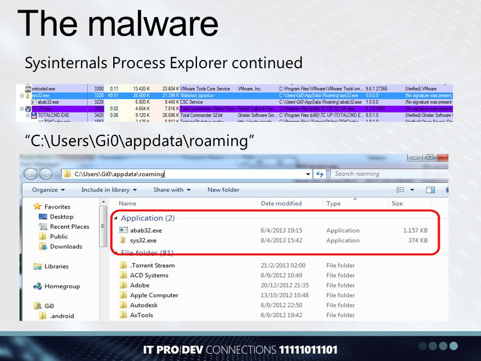 "The malware Sysinternals Process Explorer continued ""C:\Users\Gi0\appdata\roaming"""