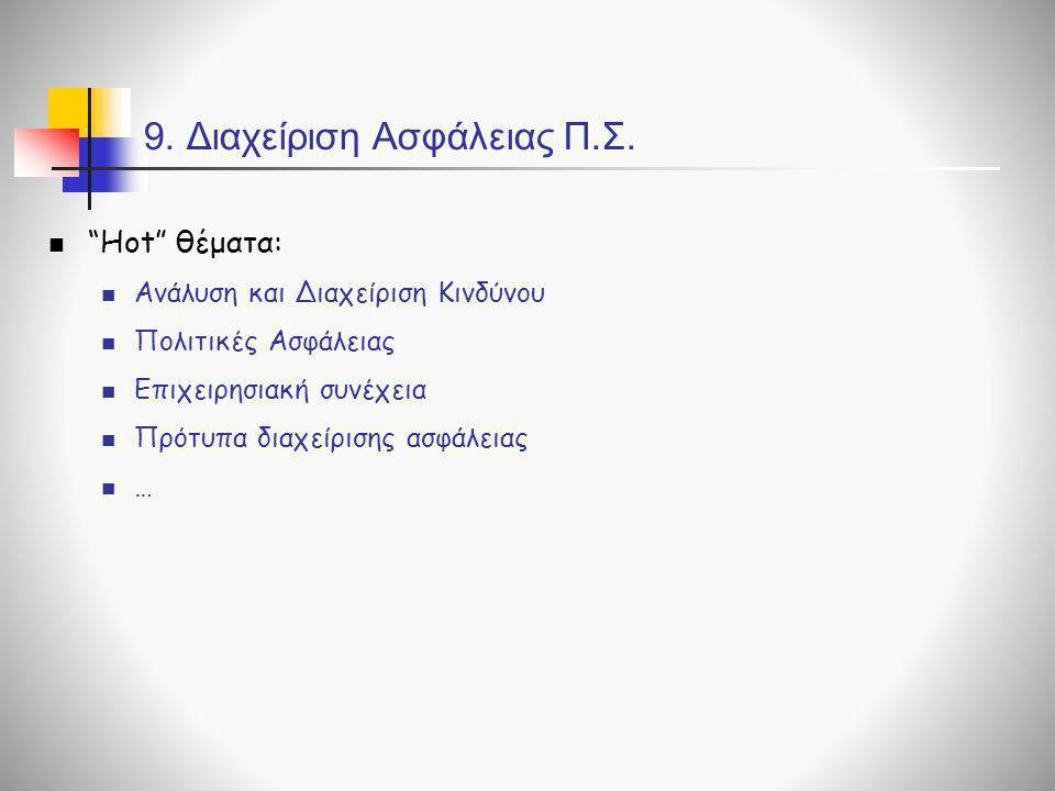 """9. Διαχείριση Ασφάλειας Π.Σ.  """"Hot"""" θέματα:  Ανάλυση και Διαχείριση Κινδύνου  Πολιτικές Ασφάλειας  Επιχειρησιακή συνέχεια  Πρότυπα διαχείρισης ασ"""