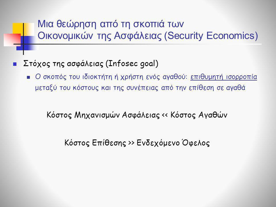 Μια θεώρηση από τη σκοπιά των Οικονομικών της Ασφάλειας (Security Economics)  Στόχος της ασφάλειας (Infosec goal)  Ο σκοπός του ιδιοκτήτη ή χρήστη ε