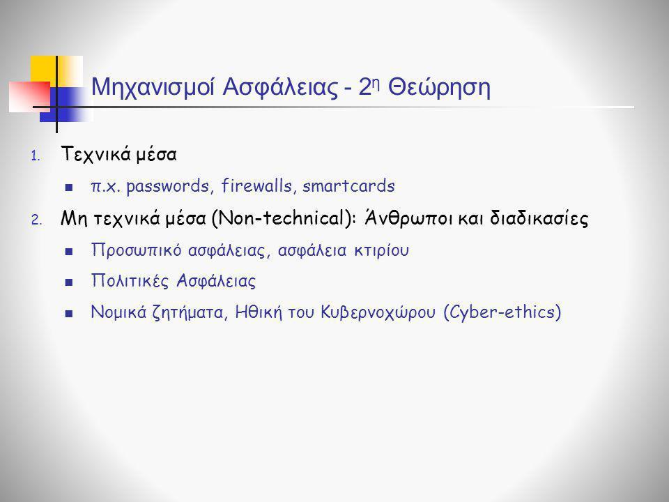 Μηχανισμοί Ασφάλειας - 2 η Θεώρηση 1. Τεχνικά μέσα  π.x. passwords, firewalls, smartcards 2. Μη τεχνικά μέσα (Non-technical): Άνθρωποι και διαδικασίε