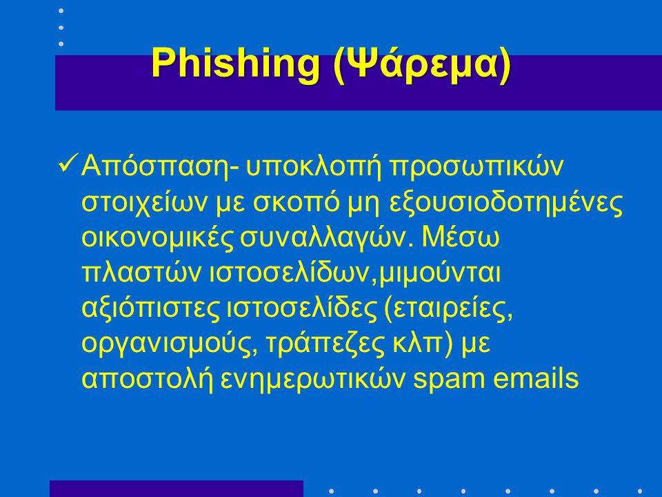 Phishing (Ψάρεμα)  Απόσπαση- υποκλοπή προσωπικών στοιχείων με σκοπό μη εξουσιοδοτημένες οικονομικές συναλλαγών. Μέσω πλαστών ιστοσελίδων,μιμούνται αξ