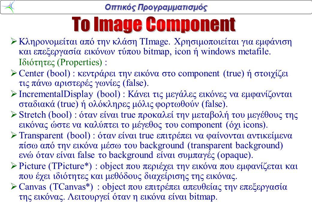 Οπτικός Προγραμματισμός  Κληρονομείται από την κλάση TImage. Χρησιμοποιείται για εμφάνιση και επεξεργασία εικόνων τύπου bitmap, icon ή windows metafi