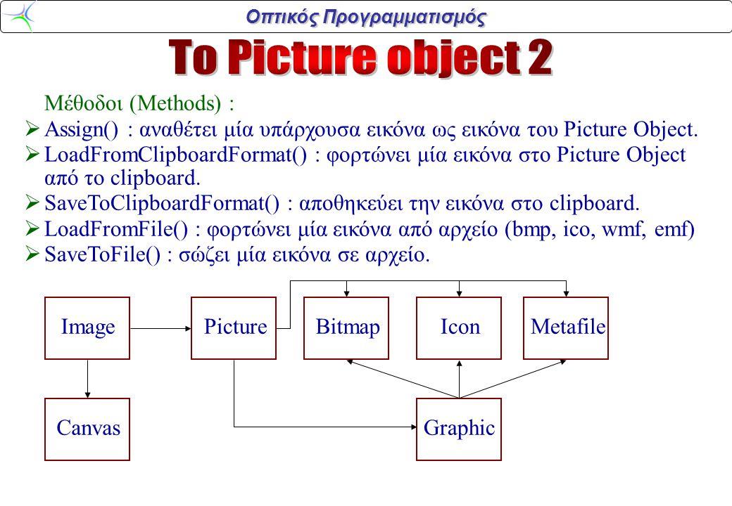 Οπτικός Προγραμματισμός Μέθοδοι (Methods) :  Assign() : αναθέτει μία υπάρχουσα εικόνα ως εικόνα του Picture Object.  LoadFromClipboardFormat() : φορ