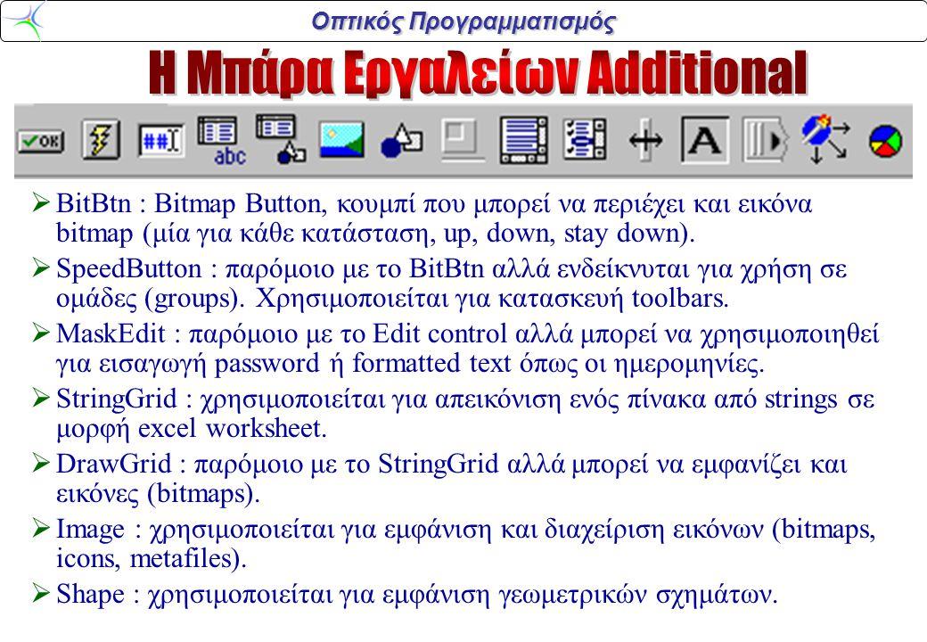 Οπτικός Προγραμματισμός  BitBtn : Bitmap Button, κουμπί που μπορεί να περιέχει και εικόνα bitmap (μία για κάθε κατάσταση, up, down, stay down).  Spe