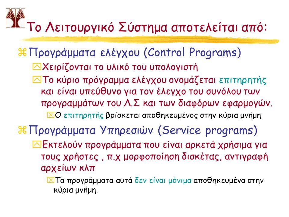 Το Λειτουργικό Σύστημα αποτελείται από: zΠρογράμματα ελέγχου (Control Programs) yΧειρίζονται το υλικό του υπολογιστή yΤο κύριο πρόγραμμα ελέγχου ονομά