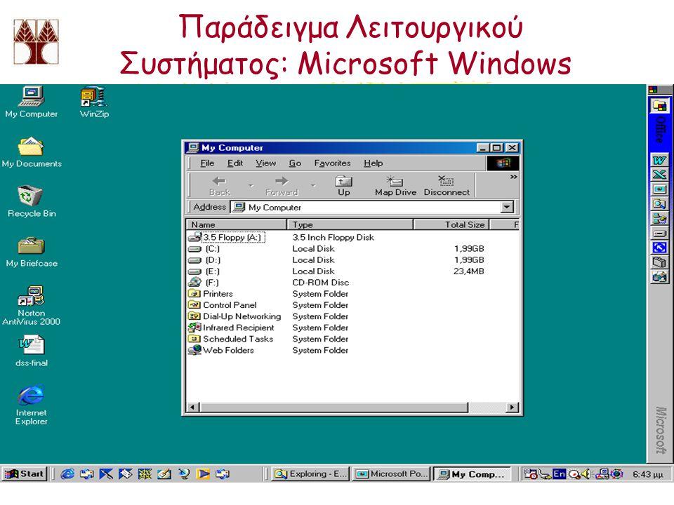 Παράδειγμα Λειτουργικού Συστήματος: Microsoft Windows