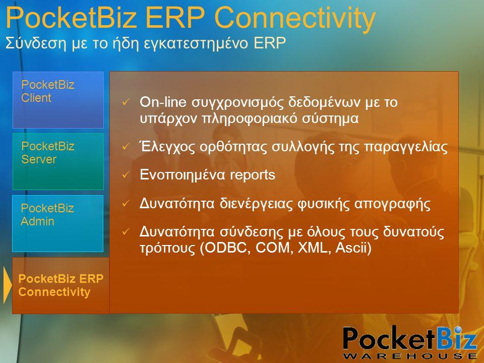 PocketBiz Admin PocketBiz Client PocketBiz Server  On-line συγχρονισμός δεδομένων με το υπάρχον πληροφοριακό σύστημα  Έλεγχος ορθότητας συλλογής της