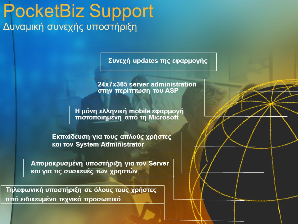 PocketBiz Support Δυναμική συνεχής υποστήριξη Τηλεφωνική υποστήριξη σε όλους τους χρήστες από ειδικευμένο τεχνικό προσωπικό Απομακρυσμένη υποστήριξη γ