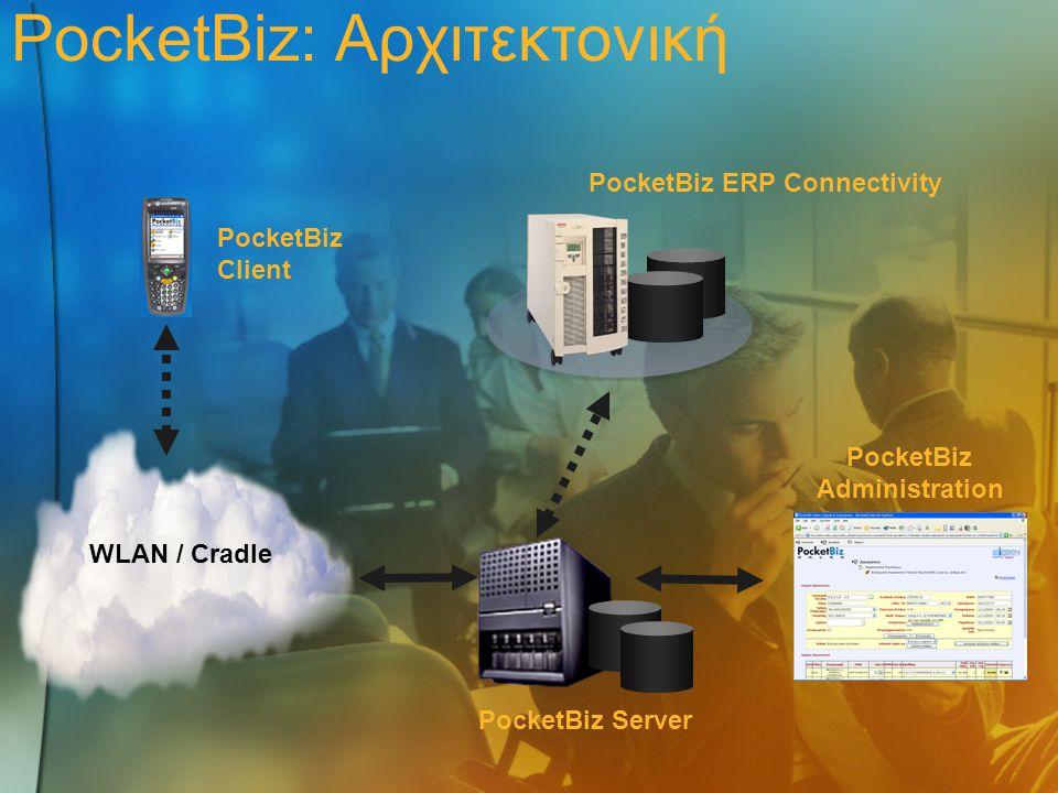PocketBiz Admin PocketBiz Client PocketBiz Server PocketBiz Client Πλήρες λογισμικό διαχείρισης logistics  Διαχείριση παραγγελιών από προμηθευτές  Διαχείριση νέων παραλαβών  Συλλογή παραγγελιών  Καταγραφή εσωτερικών διακινήσεων  Καταγραφή της θέσης αποθήκευσης  Φυσική απογραφή  Καταγραφή τιμής ανά θέση και ανά είδος PocketBiz ERP Connectivity