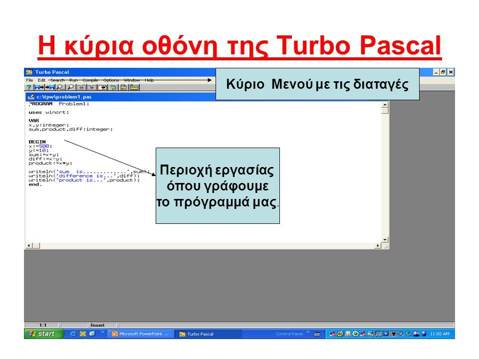 H κύρια οθόνη της Turbo Pascal Κύριο Μενού με τις διαταγές Περιοχή εργασίας όπου γράφουμε το πρόγραμμά μας.