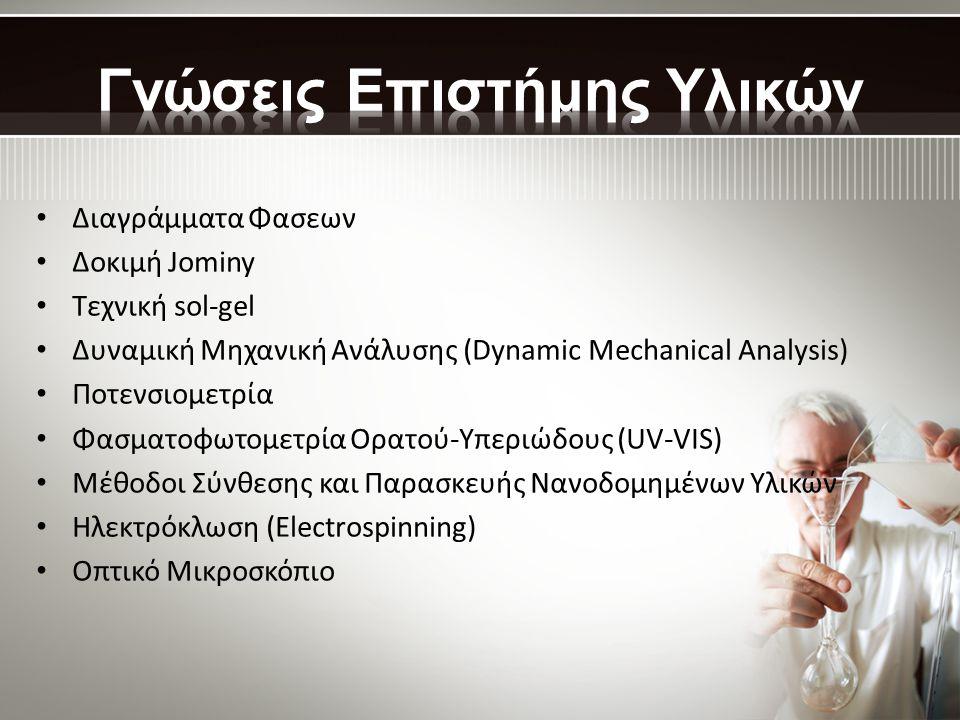 • Διαγράμματα Φασεων • Δοκιμή Jominy • Τεχνική sol-gel • Δυναμική Μηχανική Ανάλυσης (Dynamic Mechanical Analysis) • Ποτενσιομετρία • Φασματοφωτομετρία Ορατού-Υπεριώδους (UV-VIS) • Μέθοδοι Σύνθεσης και Παρασκευής Νανοδομημένων Υλικών • Ηλεκτρόκλωση (Electrospinning) • Οπτικό Μικροσκόπιο