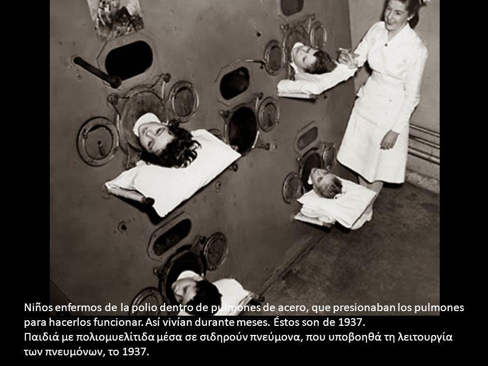Niños enfermos de la polio dentro de pulmones de acero, que presionaban los pulmones para hacerlos funcionar. Así vivían durante meses. Éstos son de 1
