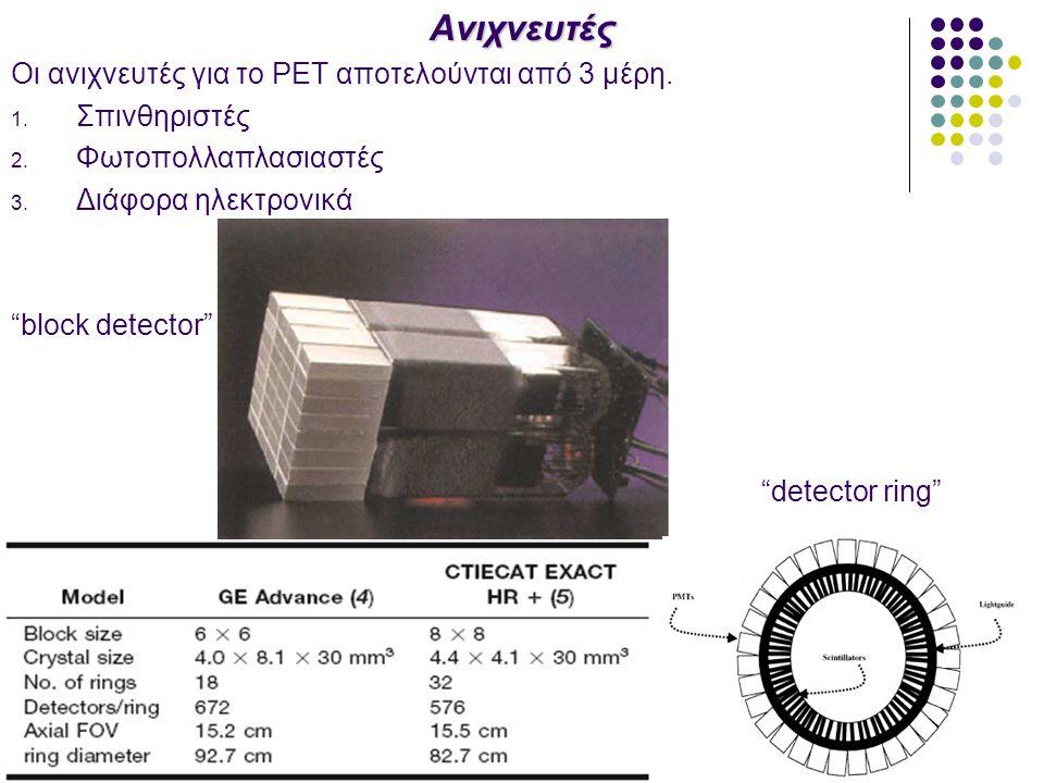 """Ανιχνευτές Οι ανιχνευτές για το PET αποτελούνται από 3 μέρη. 1. Σπινθηριστές 2. Φωτοπολλαπλασιαστές 3. Διάφορα ηλεκτρονικά """"block detector"""" """"detector"""