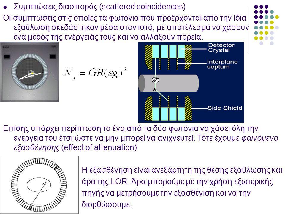  Συμπτώσεις διασποράς (scattered coincidences) Οι συμπτώσεις στις οποίες τα φωτόνια που προέρχονται από την ίδια εξαΰλωση σκεδάστηκαν μέσα στον ιστό,