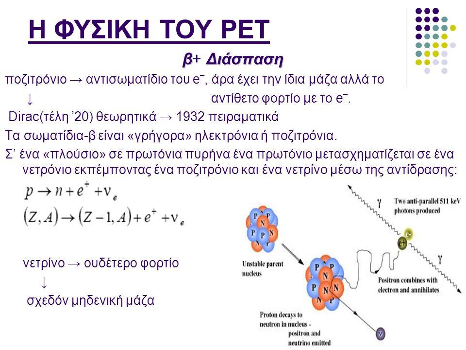 Η ΦΥΣΙΚΗ ΤΟΥ PET β Διάσπαση β+ Διάσπαση ποζιτρόνιο → αντισωματίδιο του e‾, άρα έχει την ίδια μάζα αλλά το ↓ αντίθετο φορτίο με το e‾. Dirac(τέλη '20)