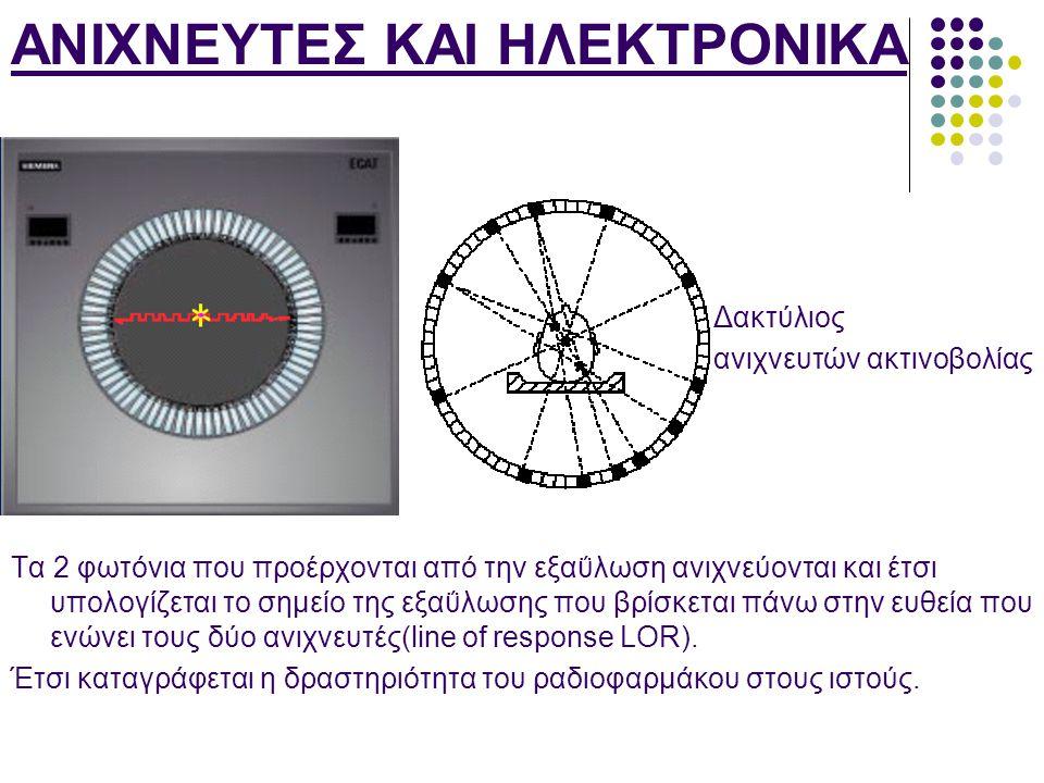ΑΝΙΧΝΕΥΤΕΣ ΚΑΙ ΗΛΕΚΤΡΟΝΙΚΑ Δακτύλιος ανιχνευτών ακτινοβολίας Τα 2 φωτόνια που προέρχονται από την εξαΰλωση ανιχνεύονται και έτσι υπολογίζεται το σημεί