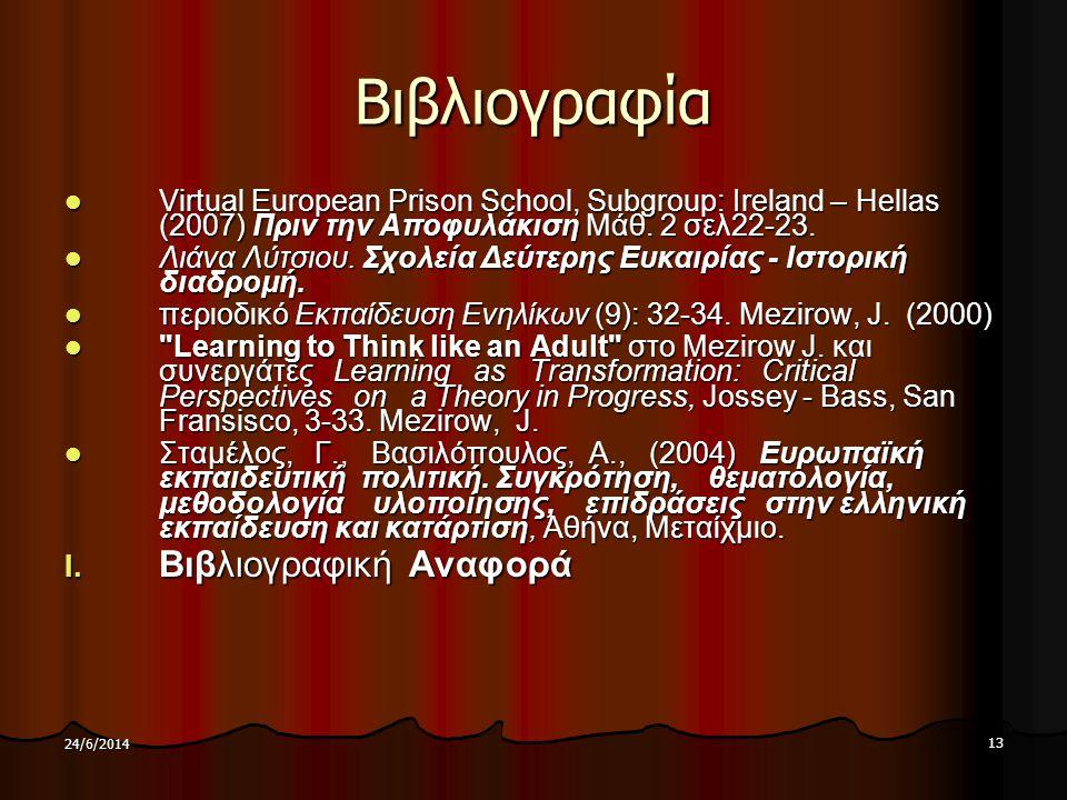 13 24/6/2014 Βιβλιογραφία  Virtual European Prison School, Subgroup: Ireland – Hellas (2007) Πριν την Αποφυλάκιση Μάθ. 2 σελ22-23.  Λιάνα Λύτσιου. Σ