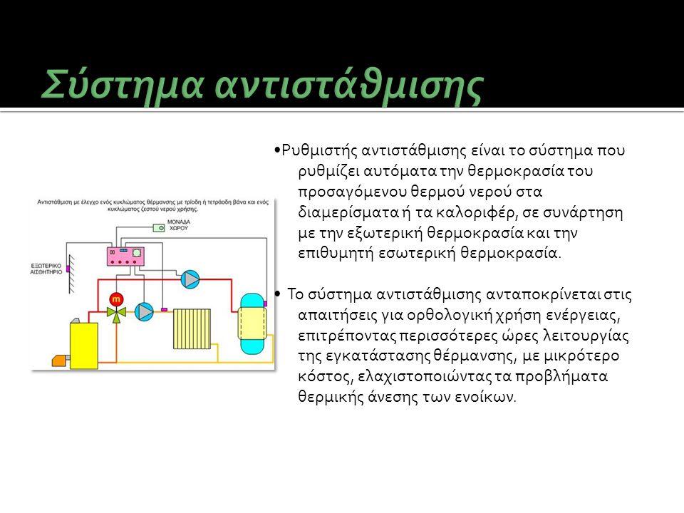 •Ρυθμιστής αντιστάθμισης είναι το σύστημα που ρυθμίζει αυτόματα την θερμοκρασία του προσαγόμενου θερμού νερού στα διαμερίσματα ή τα καλοριφέρ, σε συνά