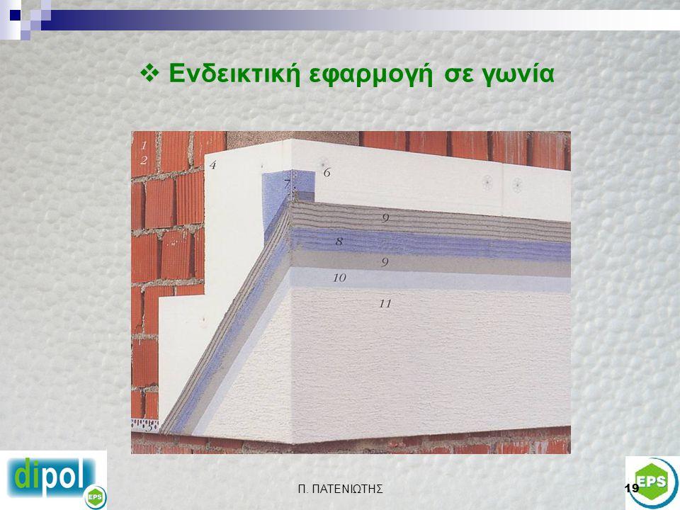 Π. ΠΑΤΕΝΙΩΤΗΣ18  ΤΟΜΗ Υπόστρωμα (τοίχος – τοιχίο) Κόλλα Θερμομονωτικές πλάκες Διογκωμένης Πολυστερίνης EPS Βασικός σοβάς Πλαστικά αγκύρια Διακοσμητικ