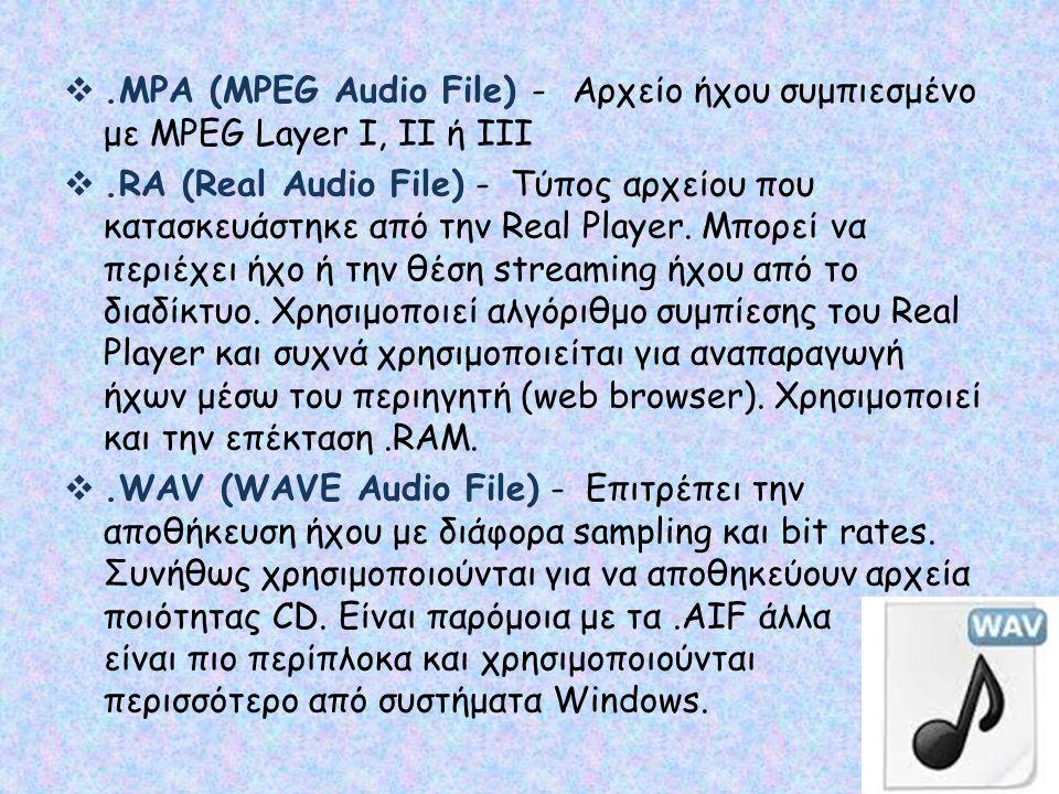 .MPA (MPEG Audio File) - Αρχείο ήχου συμπιεσμένο με MPEG Layer Ι, ΙΙ ή ΙΙΙ .RA (Real Audio File) - Τύπος αρχείου που κατασκευάστηκε από την Real Pla