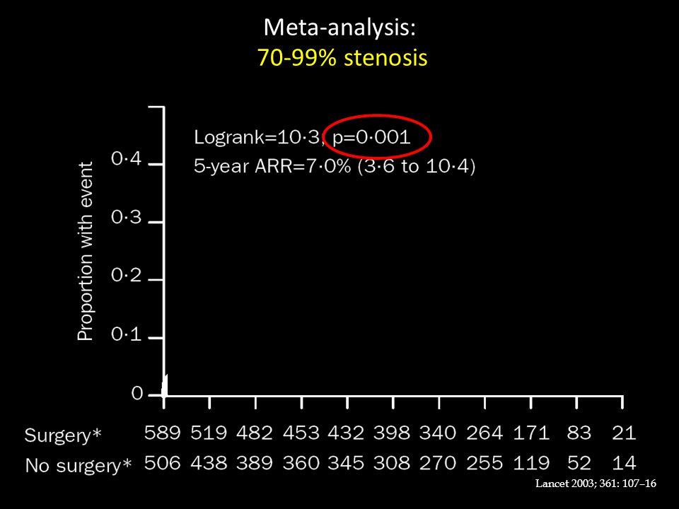 Lancet 2003; 361: 107–16 Meta-analysis: 70-99% stenosis