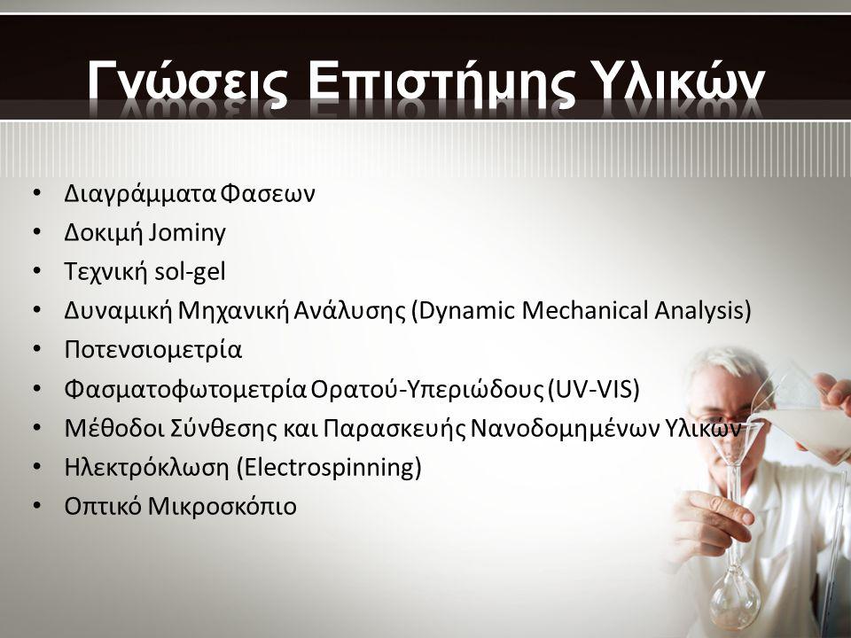 • Διαγράμματα Φασεων • Δοκιμή Jominy • Τεχνική sol-gel • Δυναμική Μηχανική Ανάλυσης (Dynamic Mechanical Analysis) • Ποτενσιομετρία • Φασματοφωτομετρία