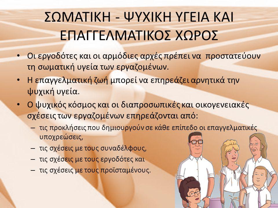 ΣΩΜΑΤΙΚΗ - ΨΥΧΙΚΗ ΥΓΕΙΑ ΚΑΙ ΕΠΑΓΓΕΛΜΑΤΙΚΟΣ ΧΩΡΟΣ • Οι εργοδότες και οι αρμόδιες αρχές πρέπει να προστατεύουν τη σωματική υγεία των εργαζομένων. • Η επ