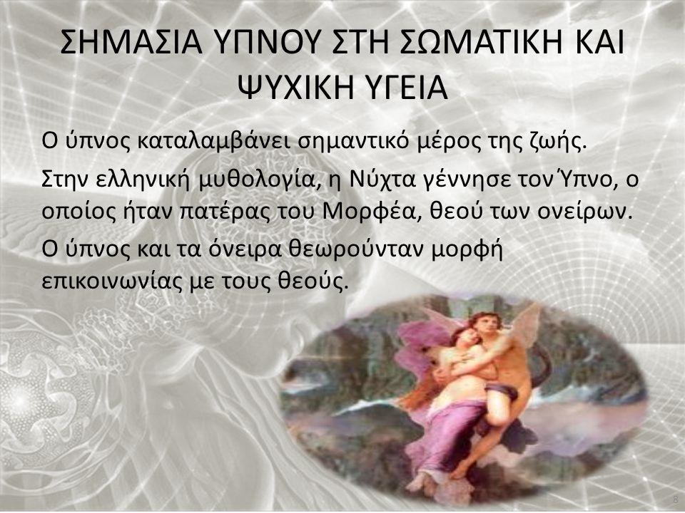 ΣΗΜΑΣΙΑ ΥΠΝΟΥ ΣΤΗ ΣΩΜΑΤΙΚΗ ΚΑΙ ΨΥΧΙΚΗ ΥΓΕΙΑ Ο ύπνος καταλαμβάνει σημαντικό μέρος της ζωής. Στην ελληνική μυθολογία, η Νύχτα γέννησε τον Ύπνο, ο οποίος